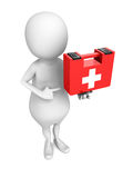 White 3d man with first aid medical kit box. 3d render illustration Stock Photography