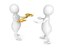 White 3d man give golden key other person Stock Photo