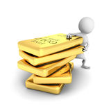 White 3d man with gold bullions stack Royalty Free Stock Photo