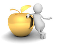 White 3d Man With Golden Apple. Success Concept. 3d Render Illustration Royalty Free Stock Images