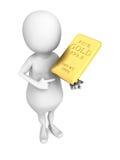 White 3d man with golden brick bullion Royalty Free Stock Photography