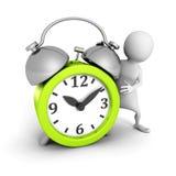 White 3d man with green alarm clock. 3d render illustration Stock Image