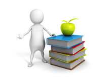 White 3d man with green apple on stack of  colorful books. 3d render illustration Stock Images