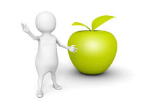 White 3d man with green fresh apple Royalty Free Stock Image