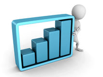 White 3d man with growing business bar chart Royalty Free Stock Photo