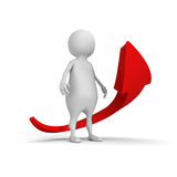 White 3d man with growing rise up red arrow Stock Images