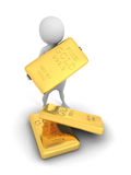White 3d man holding a gold bar bullion Stock Images
