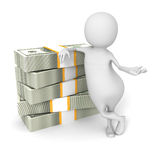 White 3d Man With Hundred Dollar Bills Royalty Free Stock Photo
