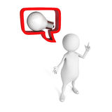 White 3d man with idea lightbulb in speech bubble. 3d render illustration Royalty Free Stock Photo