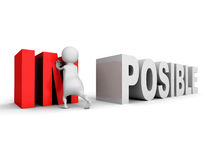 White 3d man Impossible posible concept change word Stock Photo