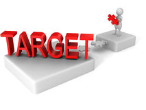 White 3d man jigsaw puzzle dridge to TARGET word Stock Photography