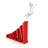 White 3d man jump fly to dream Stock Images