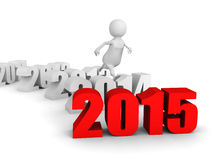 White 3d man jump over new 2015 year. runnung to success Royalty Free Stock Photography