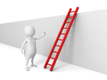 White 3d man with ladder behind the wall. Success overcoming concept 3d render illustration Stock Images