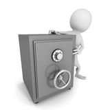 White 3d man leaning on bank safe. money safety concept. 3d render illustration Royalty Free Stock Photo