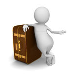 White 3d man With Leather Retro Travel Suitcase Royalty Free Stock Images