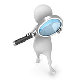 White 3d Man With Magnifier Glass Tool. Search Concept. 3d Render Illustration royalty free illustration