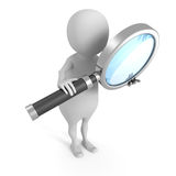 White 3d man with magnifying glass Royalty Free Stock Photography