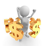 White 3d Man With Many Dollar Currency Symbols. Business Success Royalty Free Stock Photography