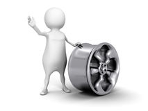 White 3d man with metallic car wheel Royalty Free Stock Image