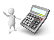 White 3d man with office calculator. 3d render illustration Royalty Free Stock Image