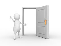 White 3d man and opened door Royalty Free Stock Photos