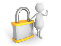 White 3d Man With Orange Padlock. Security Concept Royalty Free Stock Image