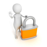 White 3d man with padlock. STOP hand sign gesture Stock Image
