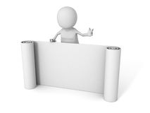 White 3d man with paper band scroll Royalty Free Stock Photos