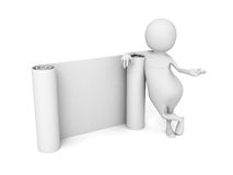 White 3d Man With Paper Band Scroll Stock Photography