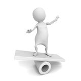 White 3d man person on balance. 3d render illustration Royalty Free Stock Images