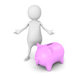 White 3d man with pig money box. financial business concept Stock Image