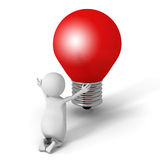 White 3d Man Pray For Good Idea. Red Light Bulb Royalty Free Stock Photo