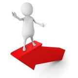 White 3d Man Presenting On Rising Up Forward Arrow. 3d Render Illustration Stock Photos