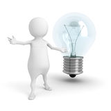 White 3d Man Presents Light Bulb. Idea Concept Stock Photo
