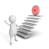 White 3d man presents successful goal target on top of steps. 3d render illustration Stock Images