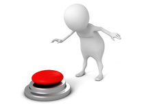 White 3d man pressing red button. 3d render illustration Stock Photo