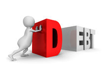 White 3d man push big red DEBT word Stock Images