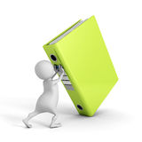 White 3d man push up big green ring binder Royalty Free Stock Images