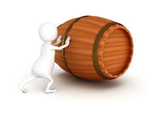 White 3d man push wooden wine barrel. 3d render illustration Royalty Free Stock Image