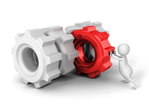 White 3d man pushing red cogwheel gear to others Royalty Free Stock Photo