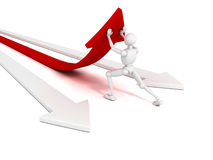 White 3d man pushing red concept success arrow. 3d Stock Image