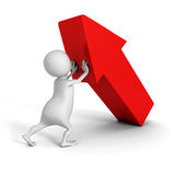 White 3d man pushing up big red arrow. success concept Stock Images