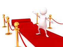 White 3d man on red carpet Royalty Free Stock Images