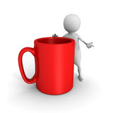 White 3d man with red coffee mug Stock Photography