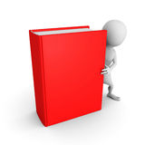 White 3d man with red cover book Royalty Free Stock Images