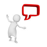 White 3d man with red dialogue speech bubble. 3d render illustration Royalty Free Stock Photo