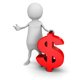 White 3d man with red dollar currency symbol. 3d render illustration Stock Photos