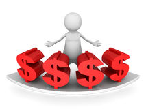 White 3d man with red dollar currency symbols Royalty Free Stock Images