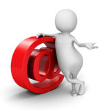 White 3d Man With Red E-mail AT Symbol. 3d Render Illustration Stock Photos